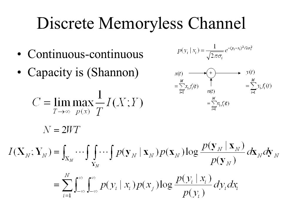 Discrete Memoryless Channel Continuous-continuous Capacity is (Shannon)