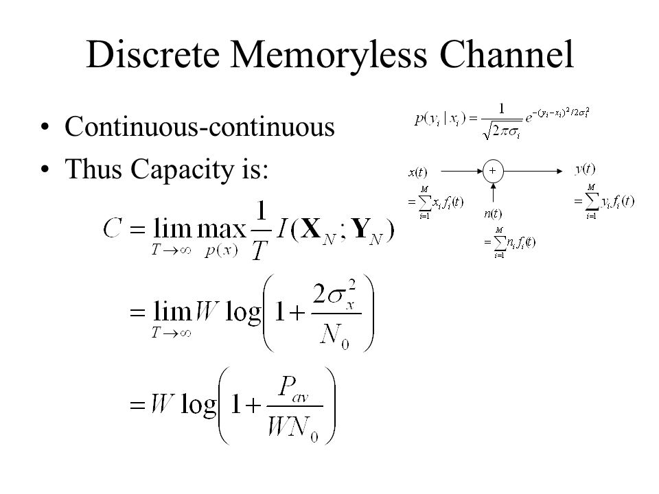 Discrete Memoryless Channel Continuous-continuous Thus Capacity is: