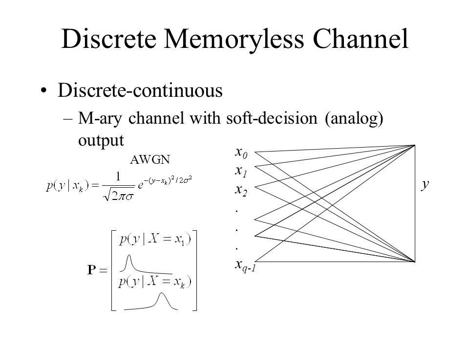 Discrete Memoryless Channel Discrete-continuous –M-ary channel with soft-decision (analog) output x 0 x 1 x 2.