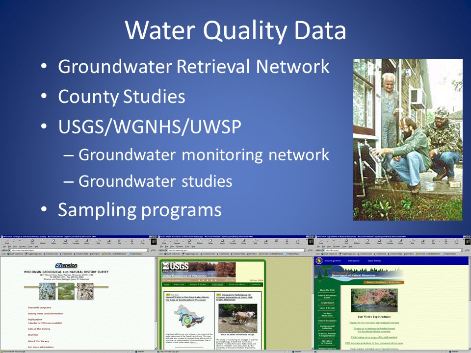 Water Quality Data Groundwater Retrieval Network County Studies USGS/WGNHS/UWSP – Groundwater monitoring network – Groundwater studies Sampling programs