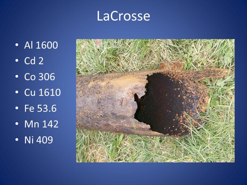 LaCrosse Al 1600 Cd 2 Co 306 Cu 1610 Fe 53.6 Mn 142 Ni 409