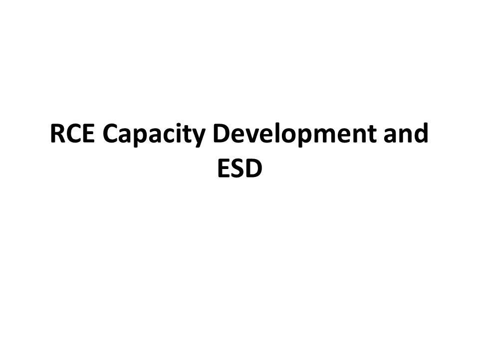 RCE Capacity Development and ESD