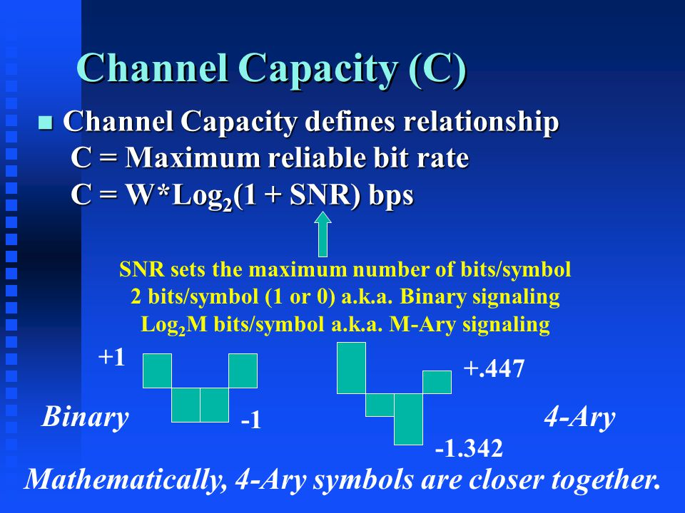 Channel Capacity (C) n Channel Capacity defines relationship C = Maximum reliable bit rate C = W*Log 2 (1 + SNR) bps SNR sets the maximum number of bits/symbol 2 bits/symbol (1 or 0) a.k.a.