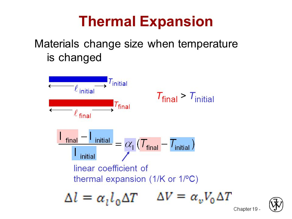 Thermal Expansion Materials change size when temperature is changed linear coefficient of thermal expansion (1/K or 1/ºC) T initial T final initial final T final > T initial