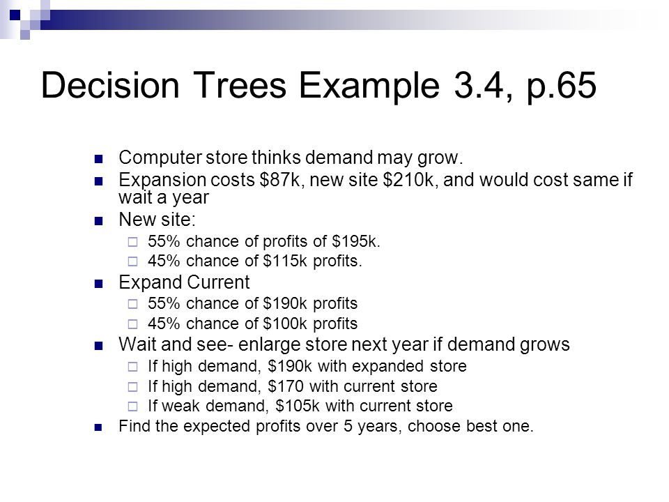 Decision Trees Example 3.4, p.65 Computer store thinks demand may grow.