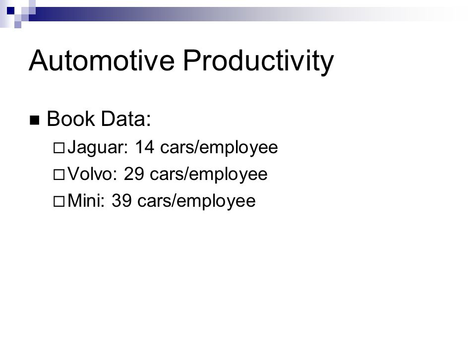Automotive Productivity Book Data: Jaguar: 14 cars/employee Volvo: 29 cars/employee Mini: 39 cars/employee