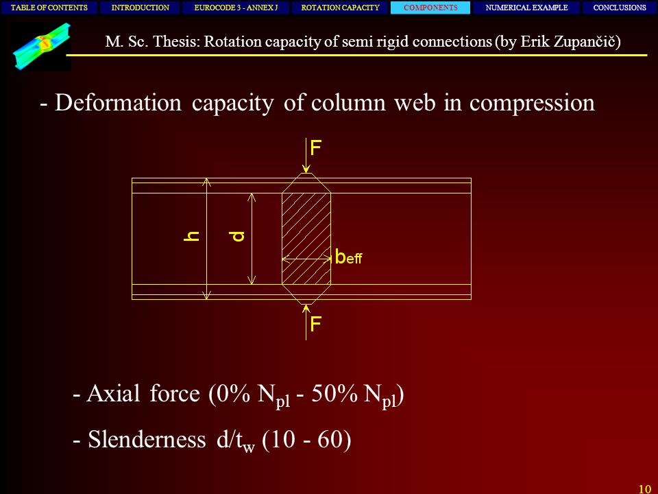10 TABLE OF CONTENTSINTRODUCTIONEUROCODE 3 - ANNEX JROTATION CAPACITYCOMPONENTSNUMERICAL EXAMPLECONCLUSIONS M. Sc. Thesis: Rotation capacity of semi r