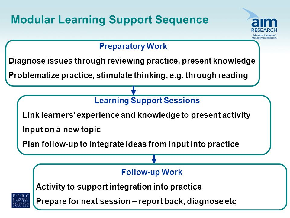 Modular Learning Support Sequence Preparatory Work Diagnose issues through reviewing practice, present knowledge Problematize practice, stimulate thinking, e.g.