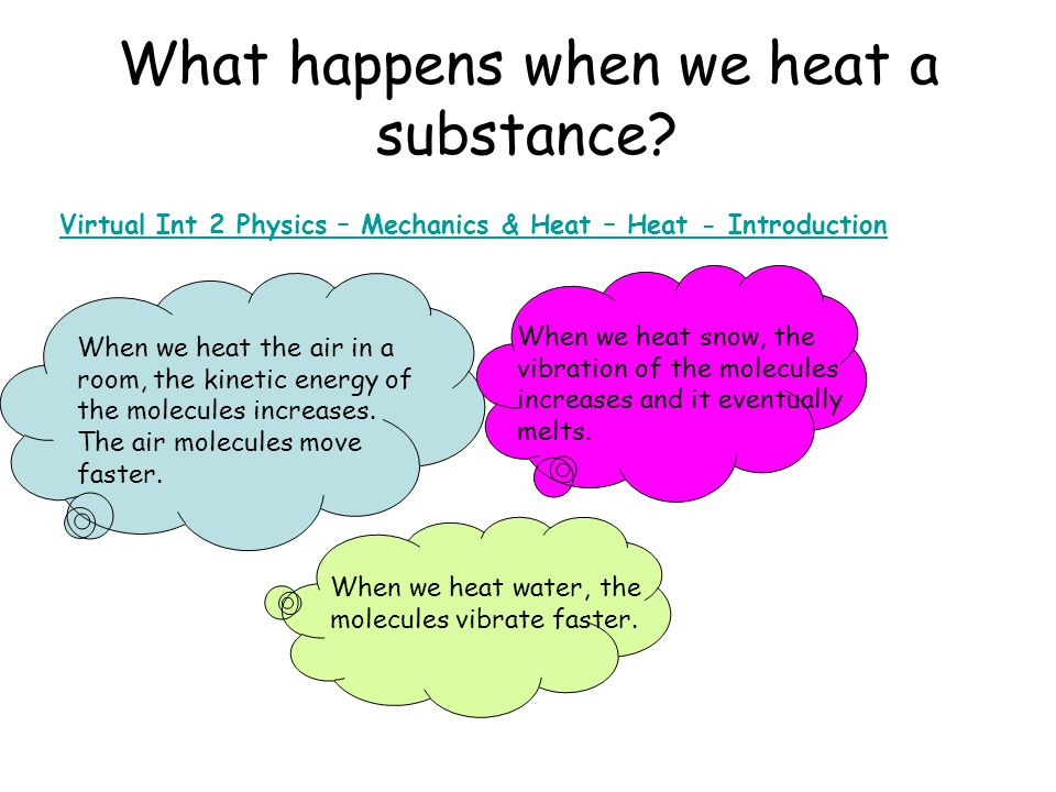 What happens when we heat a substance.