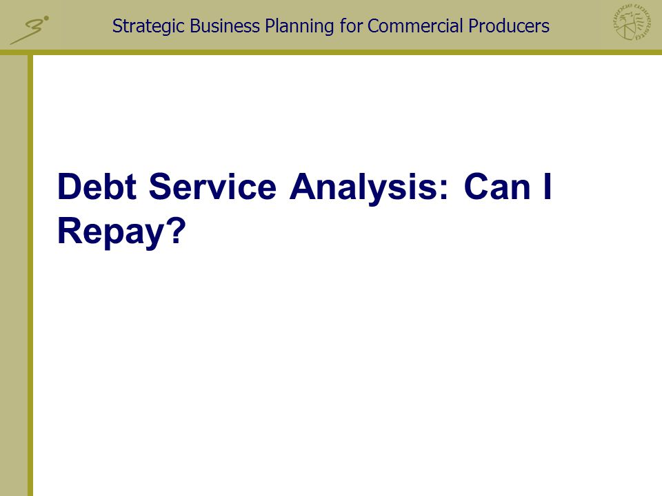 Strategic Business Planning for Commercial Producers Debt Service Analysis: Can I Repay