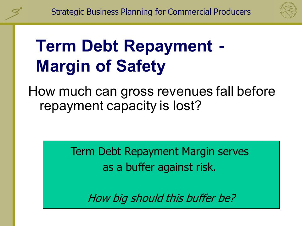 Strategic Business Planning for Commercial Producers Term Debt Repayment - Margin of Safety How much can gross revenues fall before repayment capacity is lost.