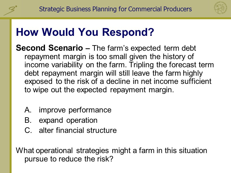 Strategic Business Planning for Commercial Producers How Would You Respond.