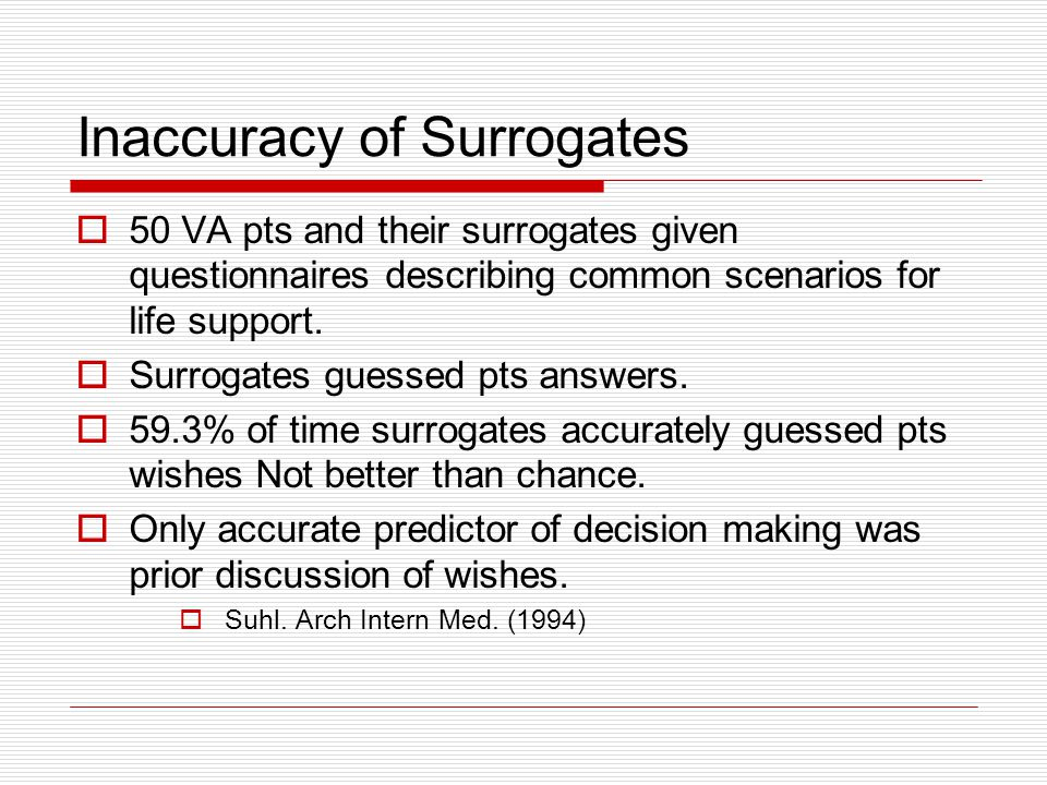 Inaccuracy of Surrogates 50 VA pts and their surrogates given questionnaires describing common scenarios for life support. Surrogates guessed pts answ