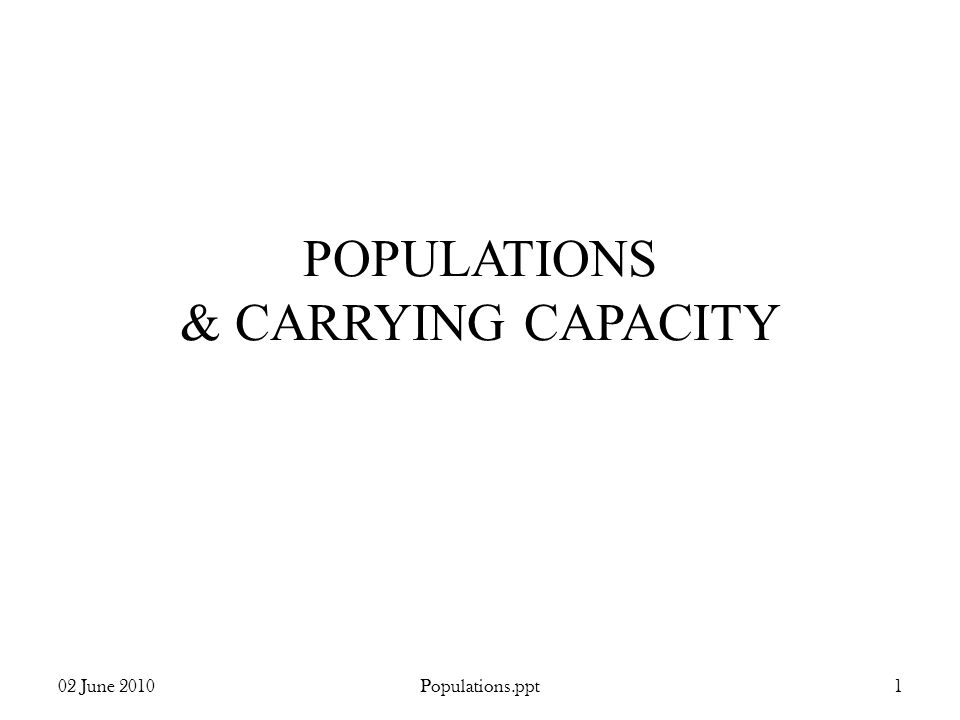 POPULATIONS & CARRYING CAPACITY 02 June 20101Populations.ppt