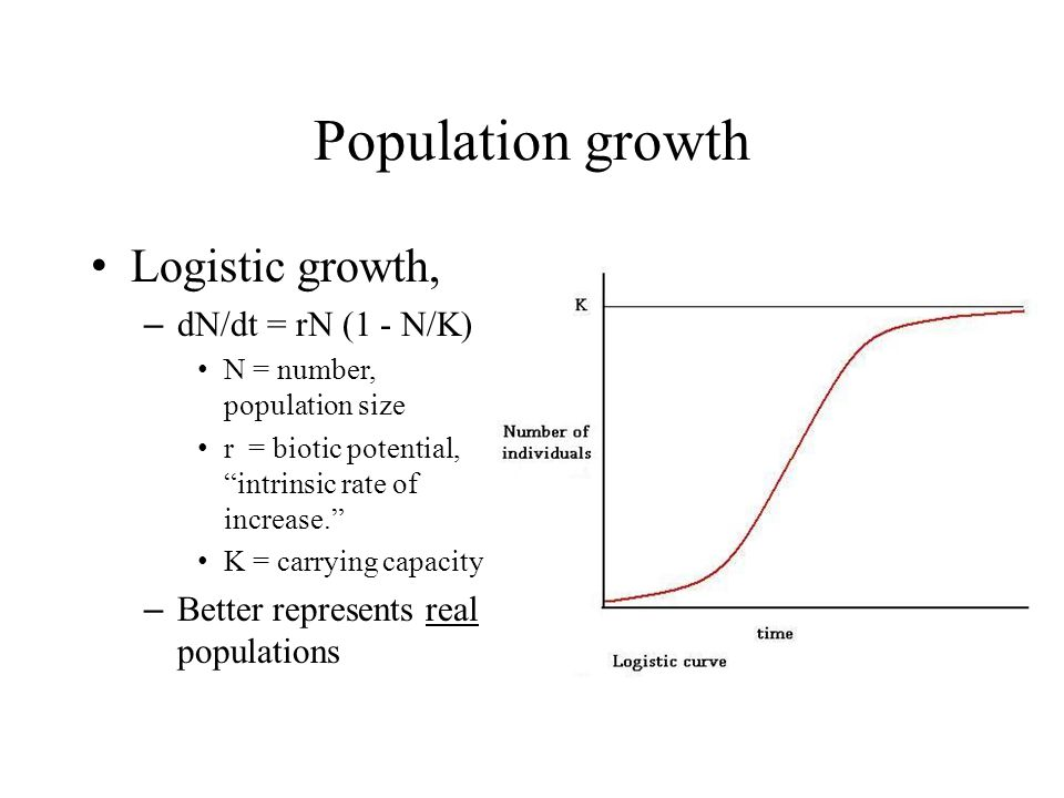 Population growth Logistic growth, – dN/dt = rN (1 - N/K) N = number, population size r = biotic potential, intrinsic rate of increase.