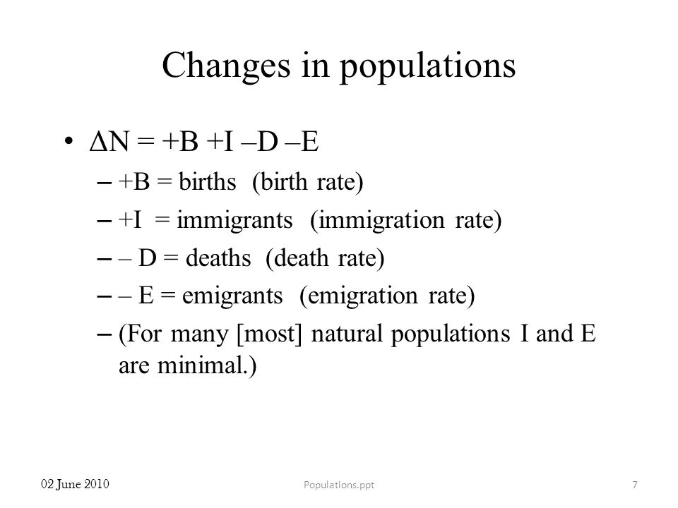 Changes in populations ΔN = +B +I –D –E – +B = births (birth rate) – +I = immigrants (immigration rate) – – D = deaths (death rate) – – E = emigrants