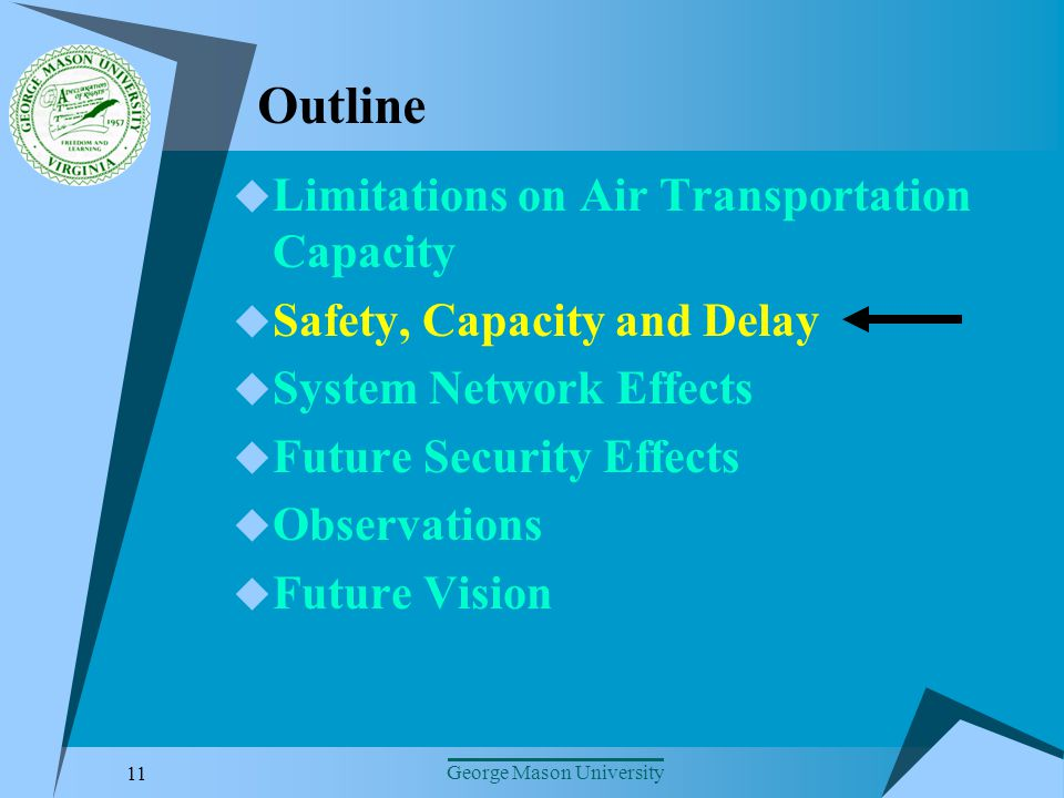 11 George Mason University Outline Limitations on Air Transportation Capacity Safety, Capacity and Delay System Network Effects Future Security Effects Observations Future Vision