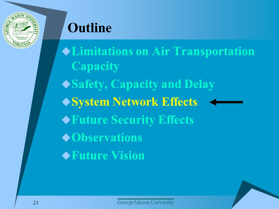 21 George Mason University Outline Limitations on Air Transportation Capacity Safety, Capacity and Delay System Network Effects Future Security Effects Observations Future Vision