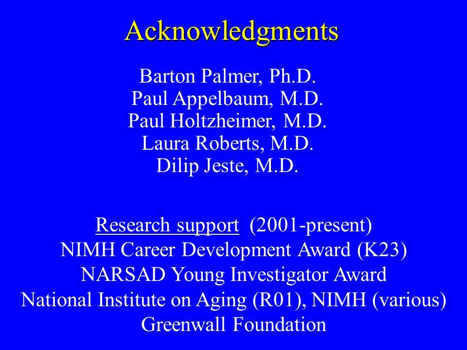 Acknowledgments Barton Palmer, Ph.D. Paul Appelbaum, M.D.