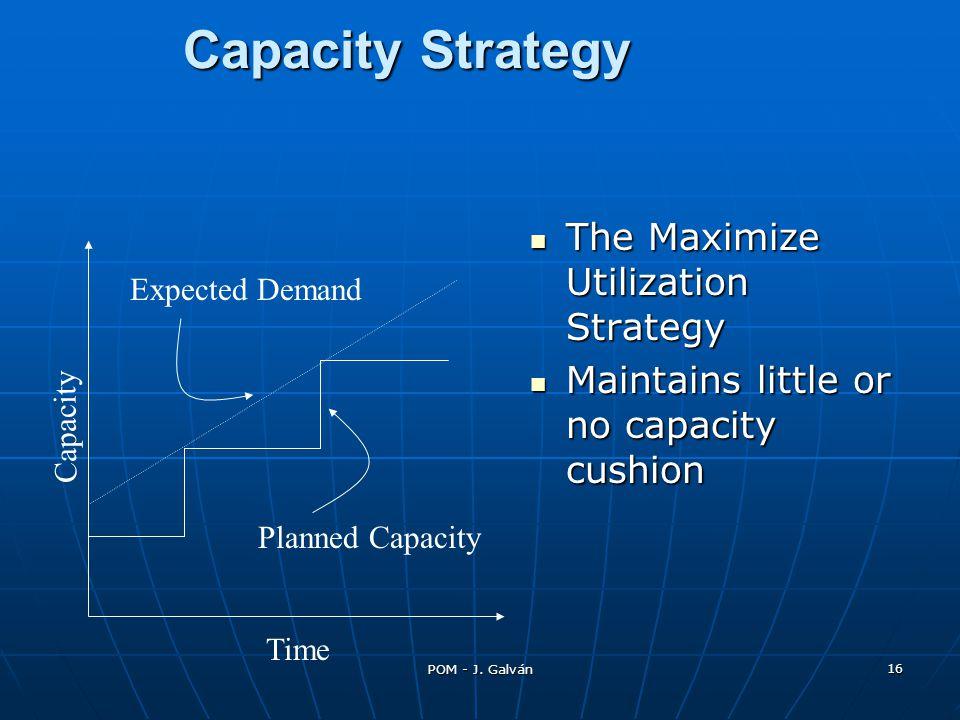 POM - J. Galván 16 Capacity Strategy The Maximize Utilization Strategy The Maximize Utilization Strategy Maintains little or no capacity cushion Maint