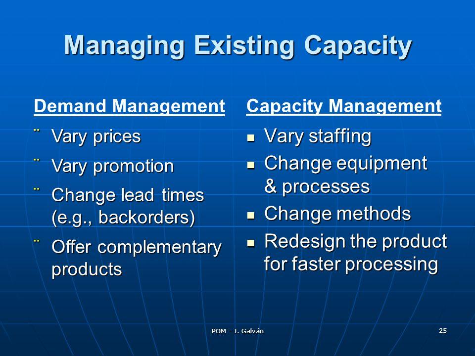 POM - J. Galván 25 Vary staffing Vary staffing Change equipment & processes Change equipment & processes Change methods Change methods Redesign the pr
