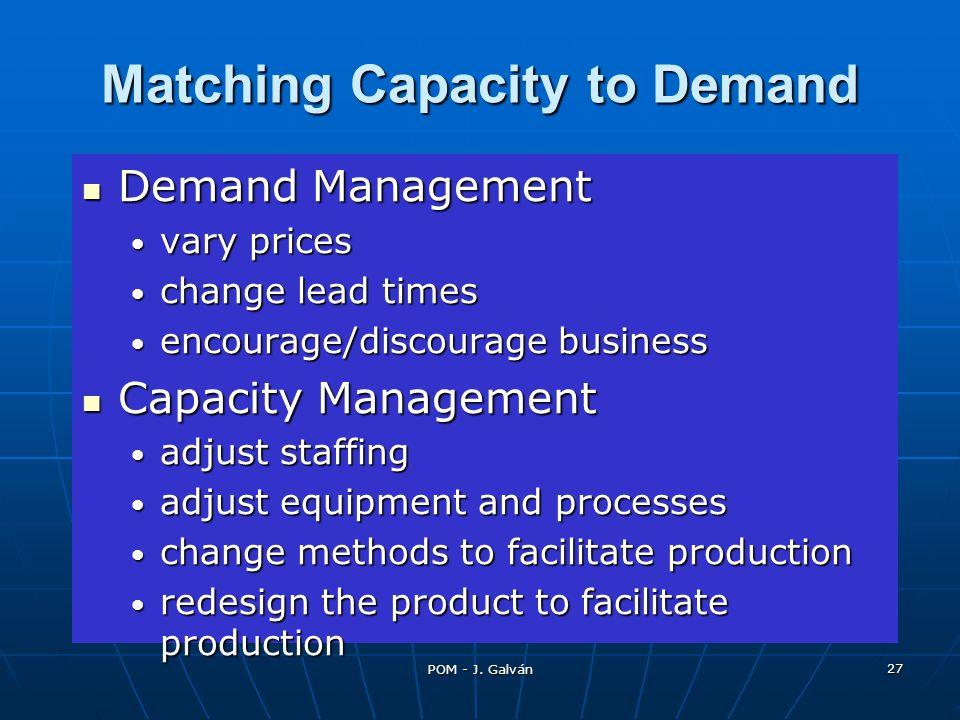POM - J. Galván 27 Matching Capacity to Demand Demand Management Demand Management vary prices vary prices change lead times change lead times encoura