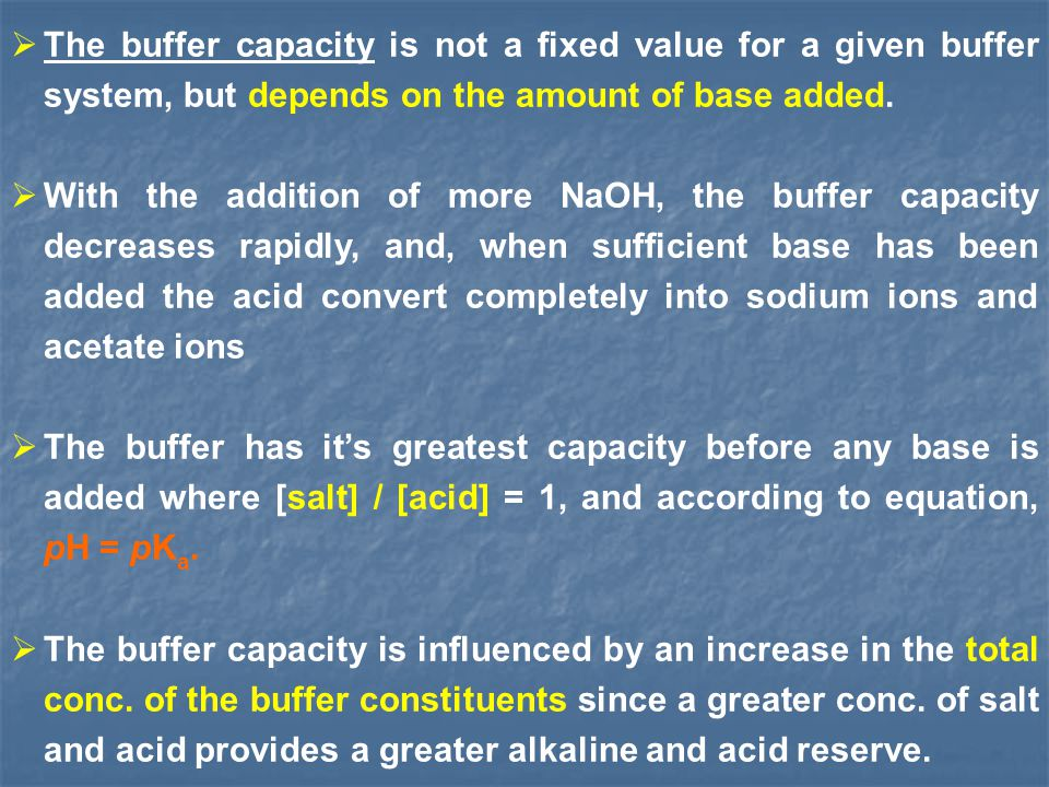 The buffer capacity is not a fixed value for a given buffer system, but depends on the amount of base added. With the addition of more NaOH, the buffe