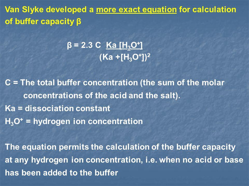 Van Slyke developed a more exact equation for calculation of buffer capacity β Ka [H 3 O + ] 2.3 C = β [H 3 O + ]) 2 + Ka) C = The total buffer concen