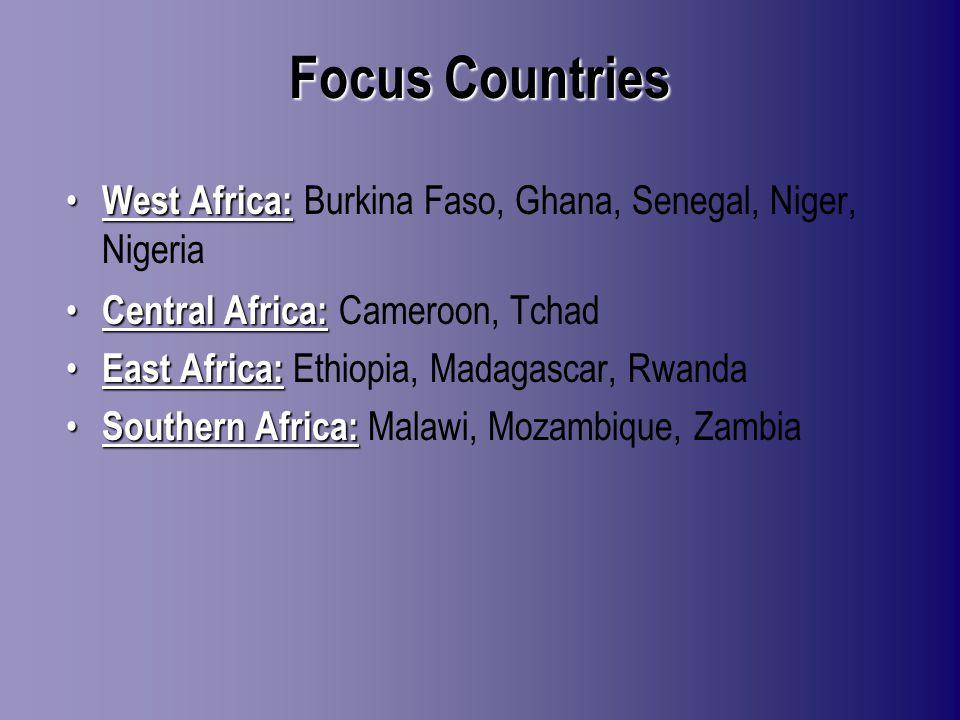 Focus Countries West Africa: West Africa: Burkina Faso, Ghana, Senegal, Niger, Nigeria Central Africa: Central Africa: Cameroon, Tchad East Africa: East Africa: Ethiopia, Madagascar, Rwanda Southern Africa: Southern Africa: Malawi, Mozambique, Zambia