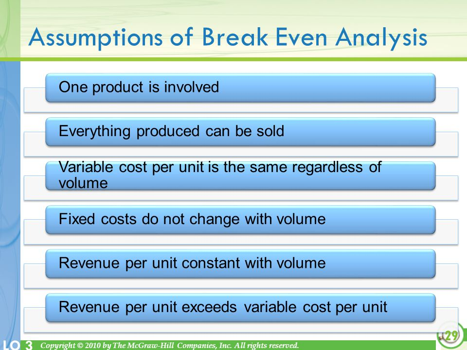 Copyright © 2010 by The McGraw-Hill Companies, Inc. All rights reserved. LO 3 Assumptions of Break Even Analysis One product is involvedEverything pro