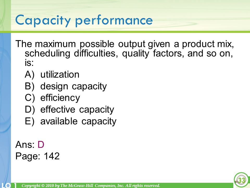 Copyright © 2010 by The McGraw-Hill Companies, Inc. All rights reserved. LO 1 Capacity performance The maximum possible output given a product mix, sc