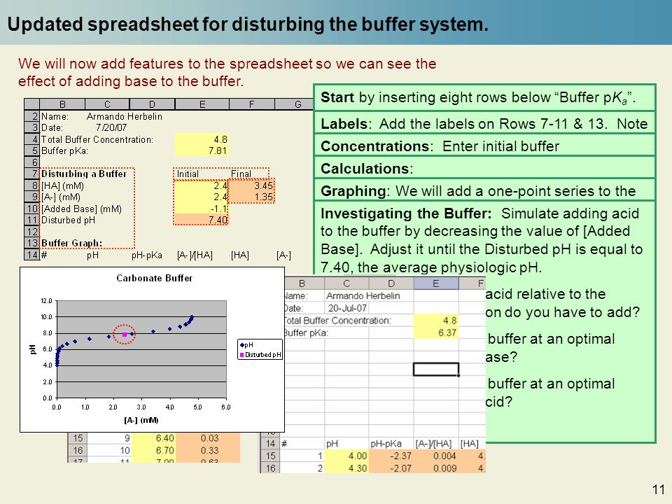 11 Updated spreadsheet for disturbing the buffer system. Start by inserting eight rows below Buffer pK a. 1. Select the Excel row labels from Row 6 to