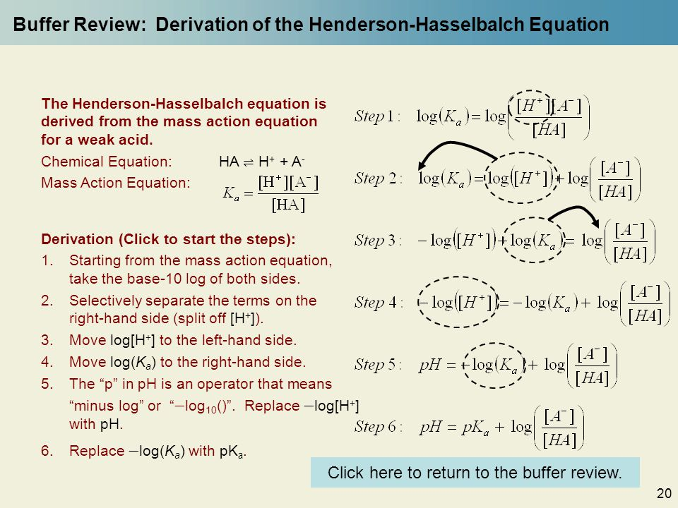 20 Buffer Review: Derivation of the Henderson-Hasselbalch Equation Derivation (Click to start the steps): 1.Starting from the mass action equation, take the base-10 log of both sides.