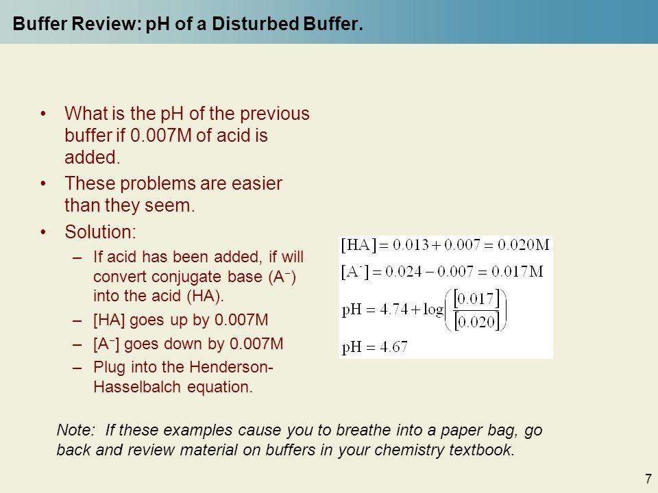 7 Buffer Review: pH of a Disturbed Buffer.
