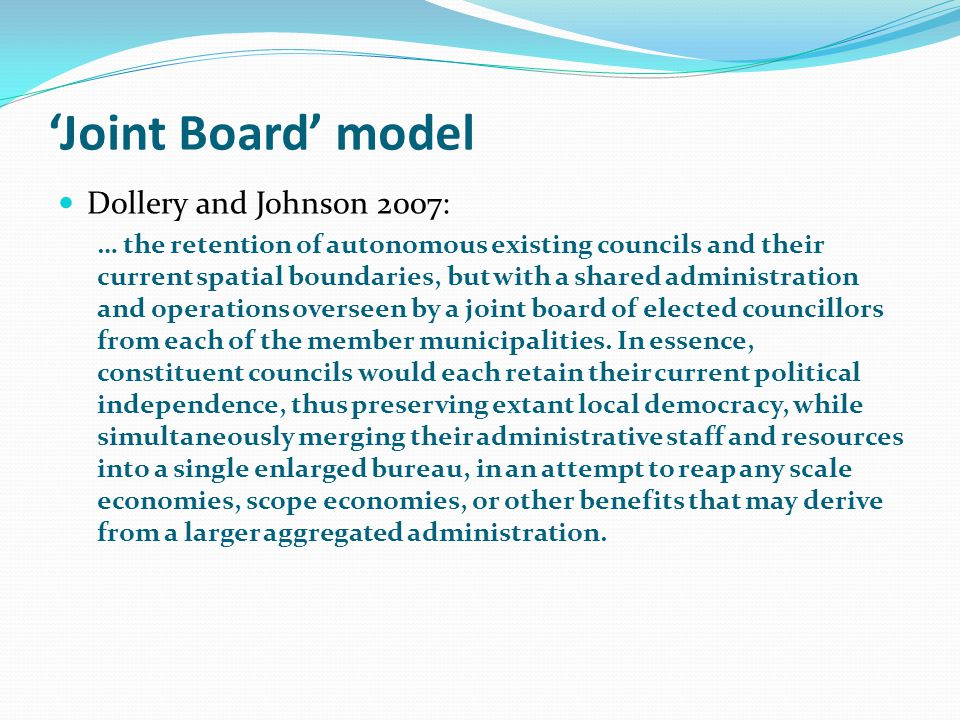 Conclusions Local government faces an uncertain future: Growing fiscal constraints Shifting inter-government arrangements It will need to enhance its capacity, its independence, and its credibility as a valuable part of our federal system Further structural reform has an important role to play in this endeavour Such reform will be multi-dimensional: Drawing battle-lines between amalgamations, shared services and other approaches is pointless and damaging We need a mature conversation about what type of reform to apply in what circumstances, and sound processes to make those decisions