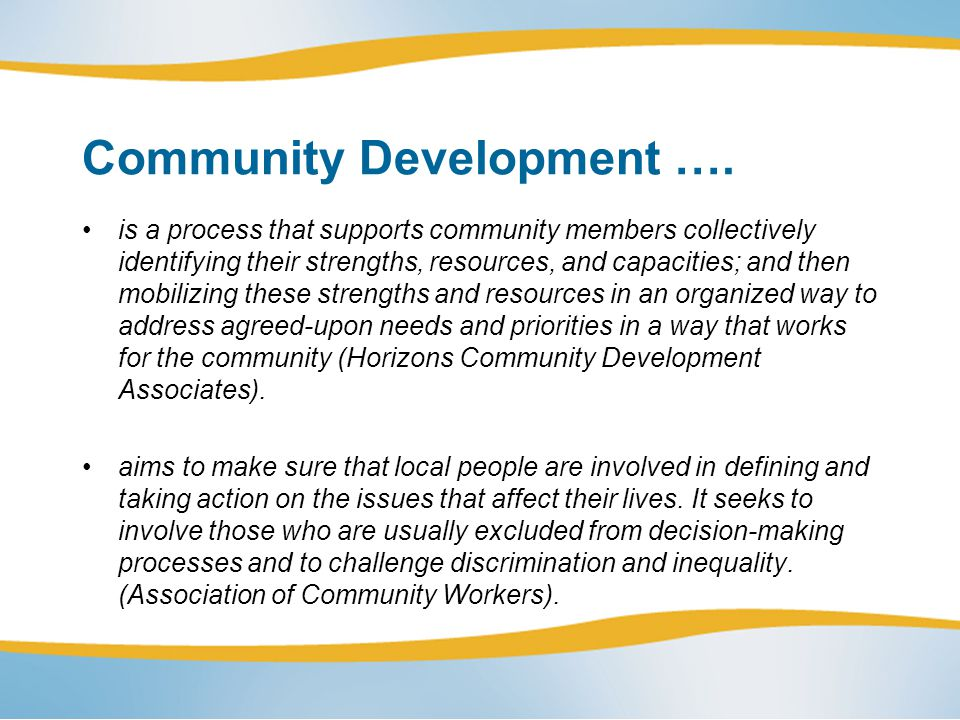 Community Capacity Building...