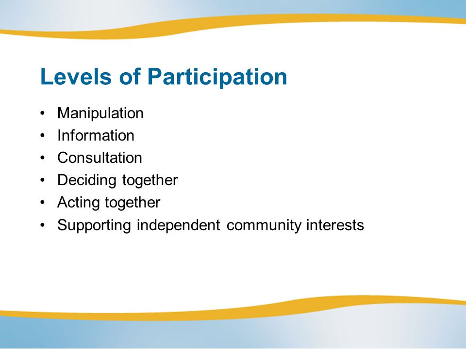 Levels of Participation Manipulation Information Consultation Deciding together Acting together Supporting independent community interests