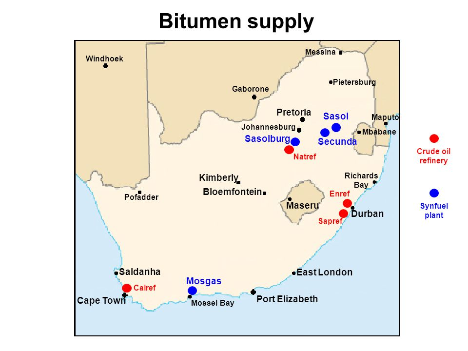 Longer term issues Future position of Natref towards refining bitumen Exporting of bitumen Importing of bitumen Sufficient refining capacity to meet future demand by: –Processing increasing percentages of residual crude oil –Increased investment in blending and dispatching facilities