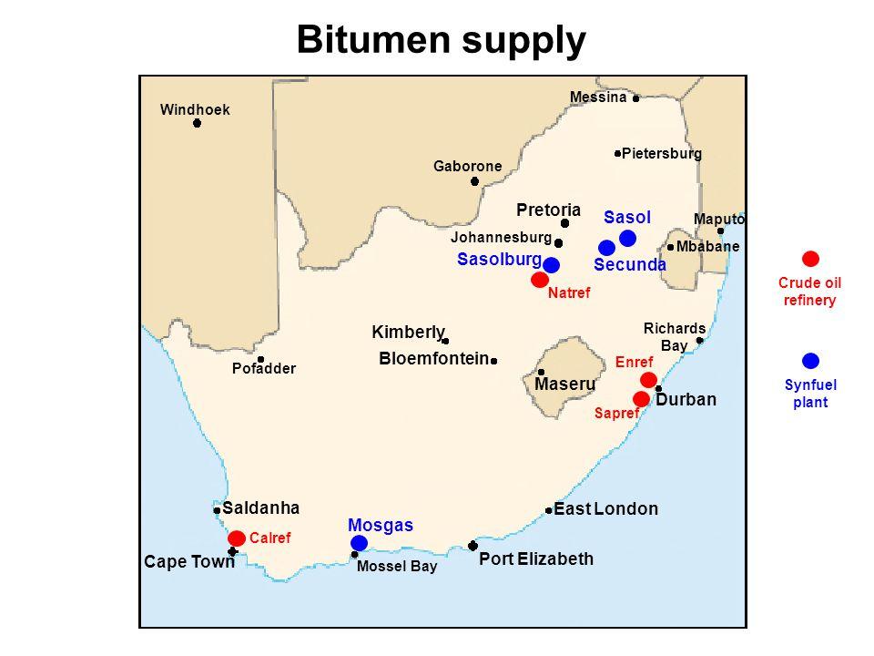 Distillation of crude oil LPG Petrol Paraffin Diesel Lubricants Heavy fuel oil Bitumen Bitumen is between 1-4% of crude oil consumption