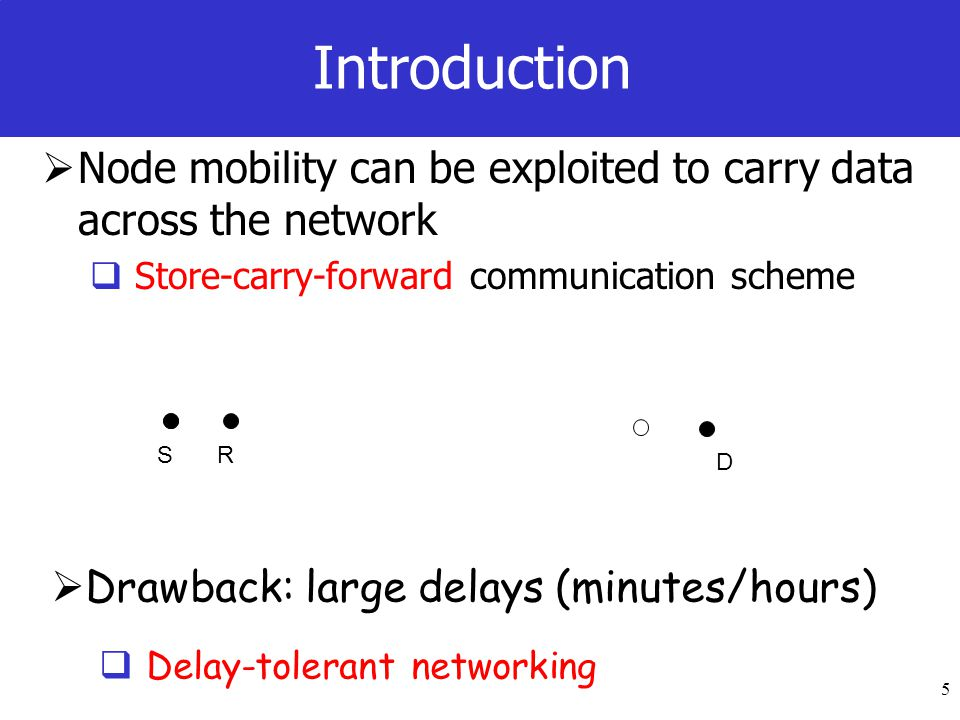 5 Introduction Node mobility can be exploited to carry data across the network Store-carry-forward communication scheme S D R Drawback: large delays (minutes/hours) Delay-tolerant networking