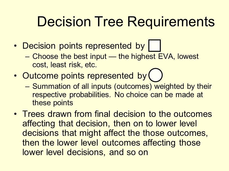 Decision Tree Requirements Decision points represented by –Choose the best input the highest EVA, lowest cost, least risk, etc. Outcome points represe