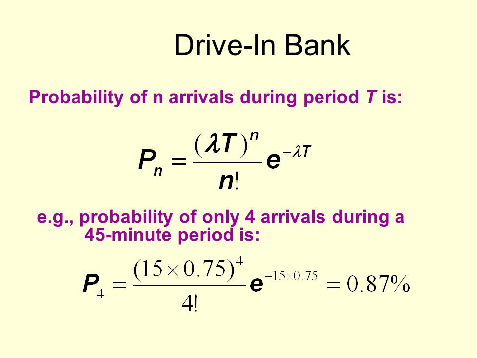 Drive-In Bank Probability of n arrivals during period T is: e.g., probability of only 4 arrivals during a 45-minute period is: