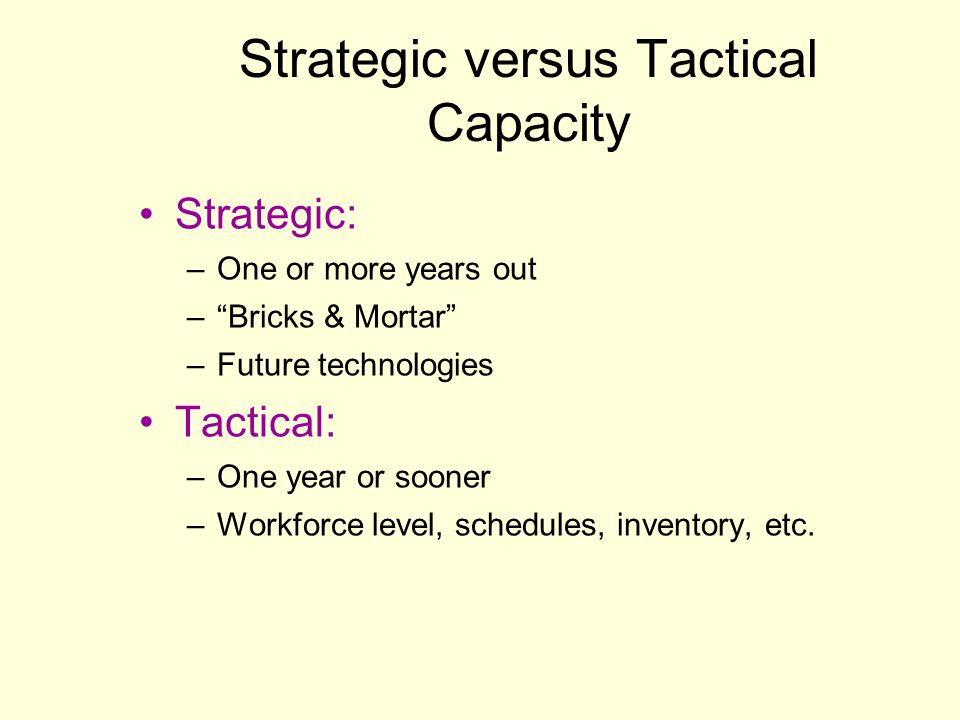 Strategic versus Tactical Capacity Strategic: –One or more years out –Bricks & Mortar –Future technologies Tactical: –One year or sooner –Workforce le