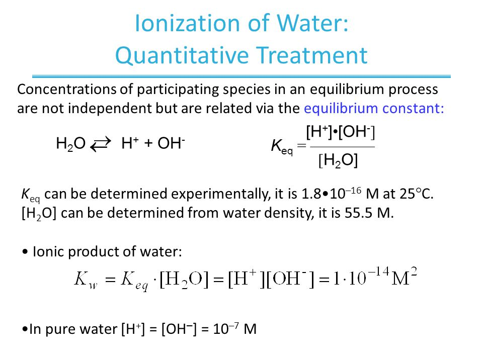 Ionization of Water: Quantitative Treatment Concentrations of participating species in an equilibrium process are not independent but are related via