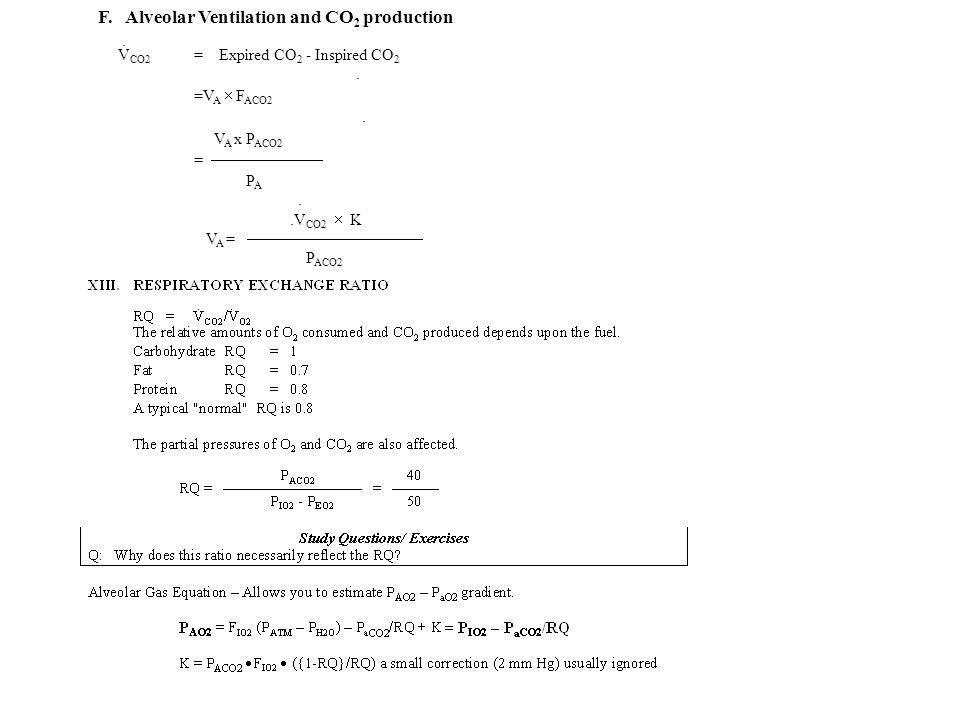 F. Alveolar Ventilation and CO 2 production. V CO2 = Expired CO 2 - Inspired CO 2. =V A F ACO2. V A x P ACO2 = P A..V CO2 K V A = P ACO2