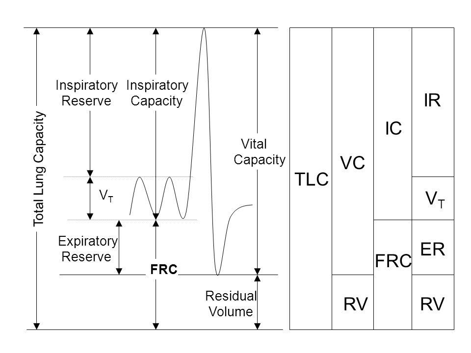 Expiratory Reserve Residual Volume Vital Capacity VTVT Total Lung Capacity Inspiratory Reserve FRC Inspiratory Capacity TLC RV IC VTVT IR FRC ER VC