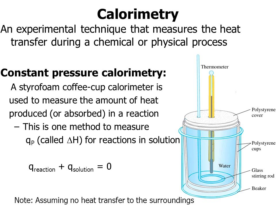 Calorimetry An experimental technique that measures the heat transfer during a chemical or physical process Constant pressure calorimetry: A styrofoam coffee-cup calorimeter is used to measure the amount of heat produced (or absorbed) in a reaction –This is one method to measure q P (called H) for reactions in solution q reaction + q solution = 0 Note: Assuming no heat transfer to the surroundings