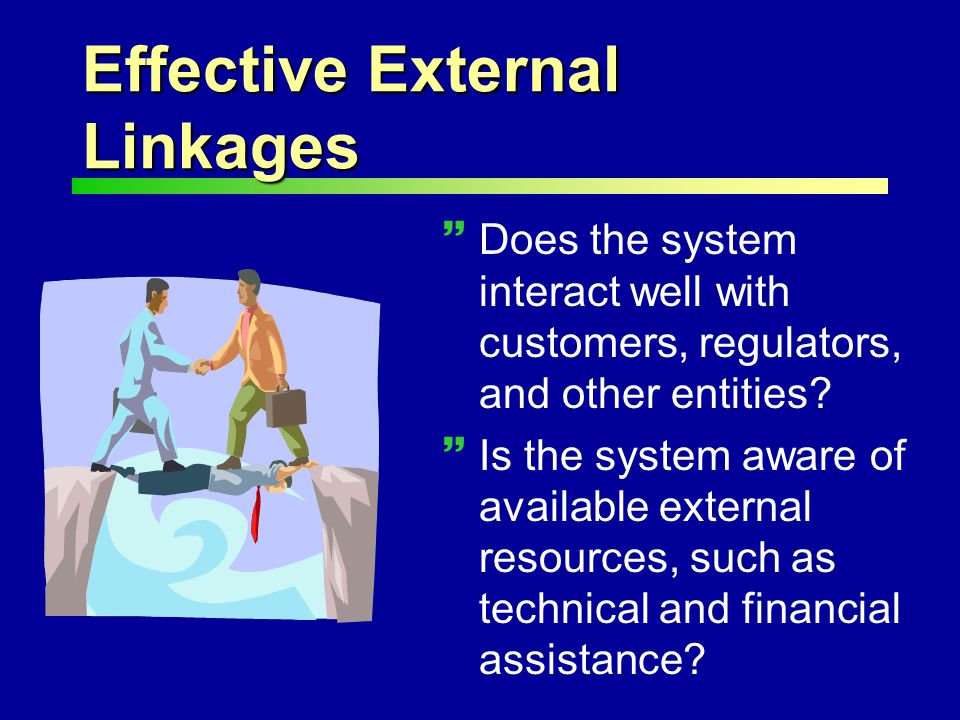 Effective External Linkages ~Does the system interact well with customers, regulators, and other entities.