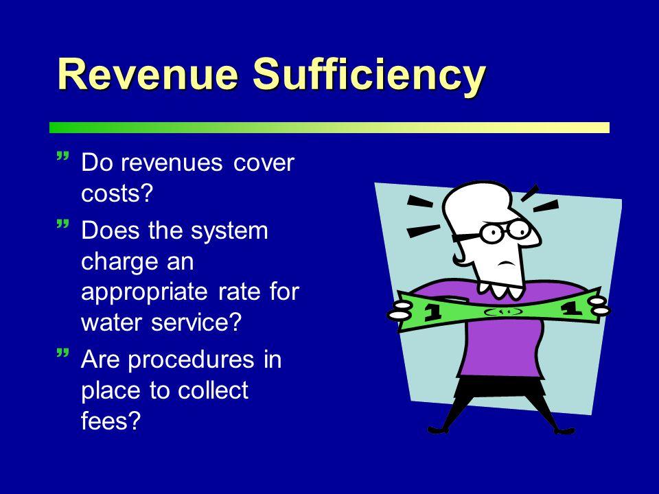 Revenue Sufficiency ~Do revenues cover costs.