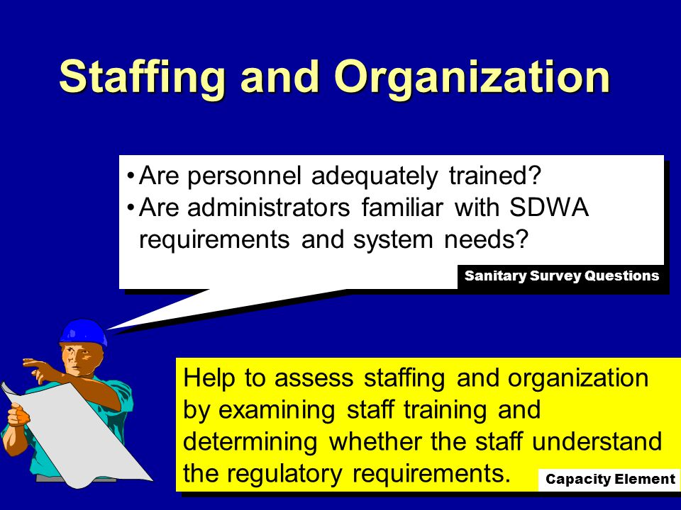 Staffing and Organization Are personnel adequately trained.
